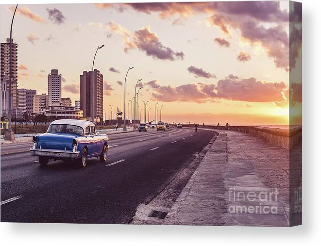 Latin America Canvas Print featuring the photograph Vehicles On Road Against Sky by Sven Hartmann / Eyeem