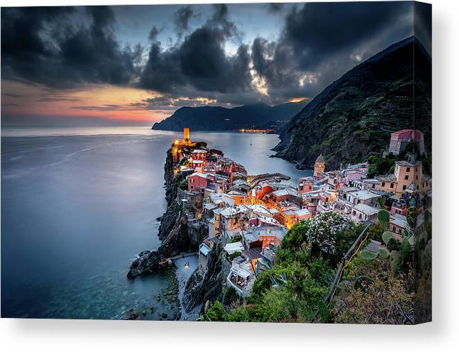 Vernazza Canvas Print featuring the photograph Vernazza cityscape by Andrei Dima