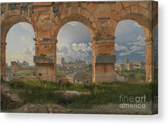 Ancient History Canvas Print featuring the drawing View Through Three Arches Of The Third by Heritage Images