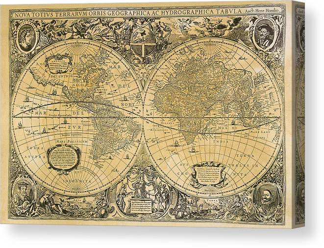 Latitude Canvas Print featuring the digital art Vintage Map Of The World by Comstock