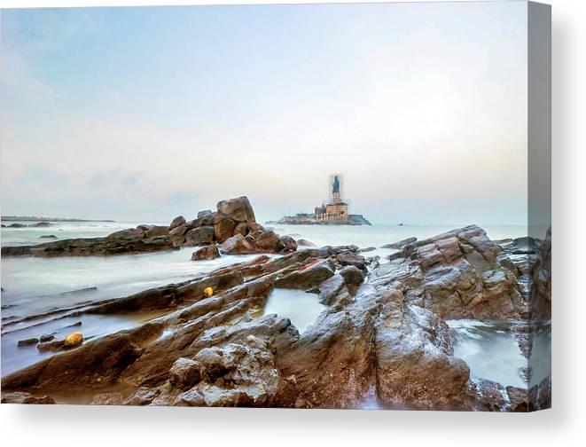 Statue Canvas Print featuring the photograph Vivekanandar Rock & Thiruvalluvar by Yesmk Photography