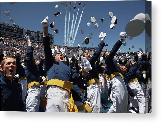 Education Canvas Print featuring the photograph Vp Biden Gives Commencement Address At by John Moore