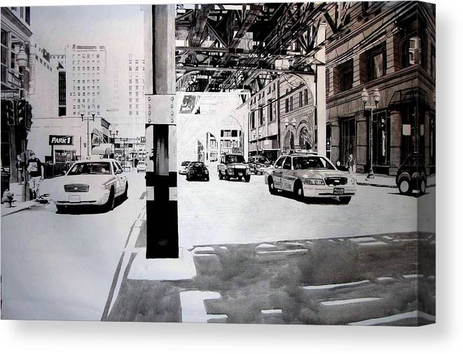 City Canvas Print featuring the painting Wabash by Scott Robinson