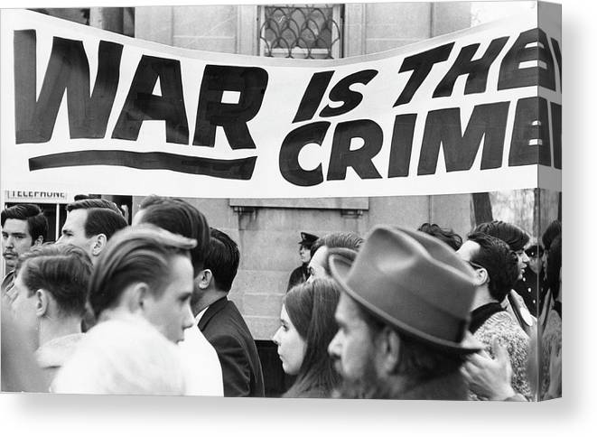 Vietnam War Canvas Print featuring the photograph War Is The Crime by Fred W. McDarrah
