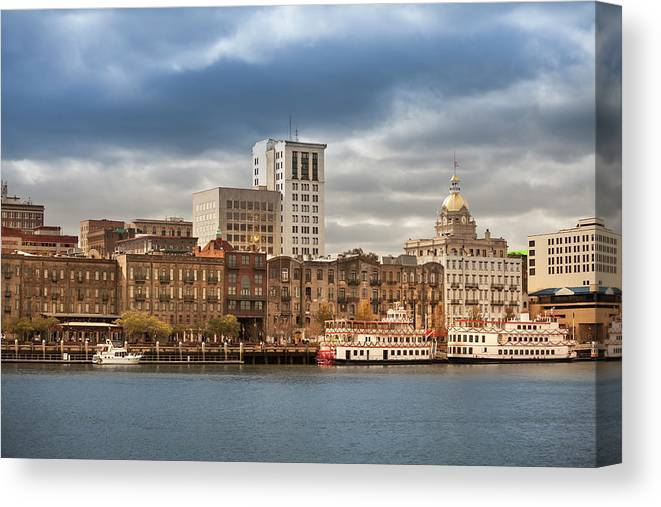 Scenics Canvas Print featuring the photograph Waterfront Skyline Of Savannah Georgia by Pgiam