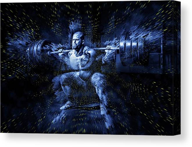 Weightlifting Canvas Print featuring the digital art Weight Lifting by ArtMarketJapan