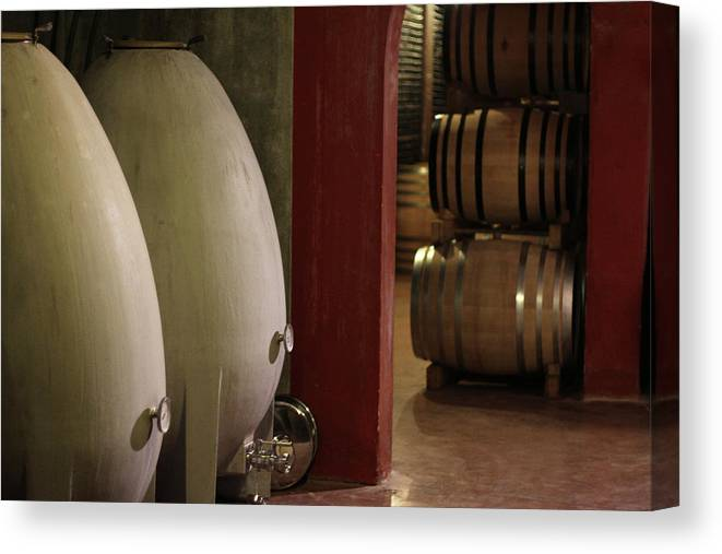 Aging Process Canvas Print featuring the photograph Wine Cellar by Tom And Steve