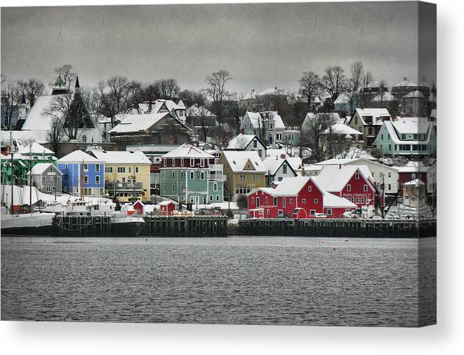 Snow Canvas Print featuring the photograph Winter In Lunenburg by Amanda White