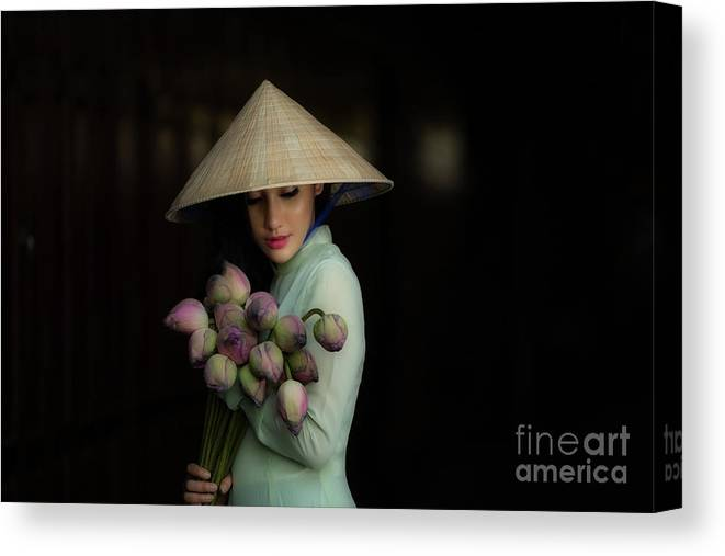 Chinese Culture Canvas Print featuring the photograph Women Vietnam In Ao Dai Traditional by Sutiporn Somnam