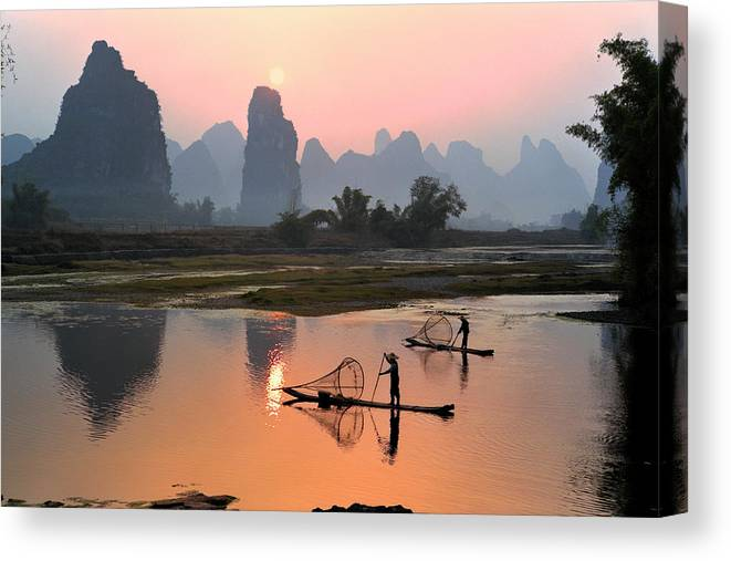 Chinese Culture Canvas Print featuring the photograph Yangshuo Li River At Sunset by Kingwu