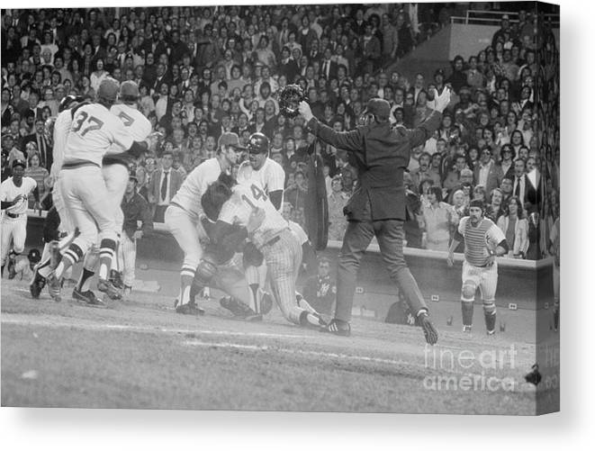 Baseball Catcher Canvas Print featuring the photograph Yankees And Red Sox Players In Scuffle by Bettmann