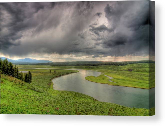 Scenics Canvas Print featuring the photograph Yellowstone River In Hayden Valley by Kevin A Scherer