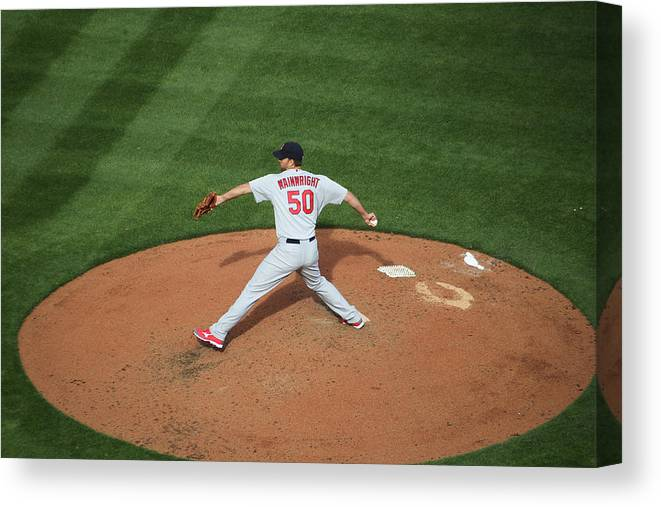 Great American Ball Park Canvas Print featuring the photograph Adam Wainwright by John Grieshop