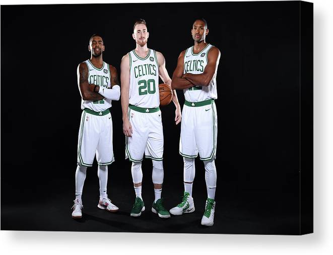 Media Day Canvas Print featuring the photograph Al Horford, Kyrie Irving, and Gordon Hayward by Brian Babineau