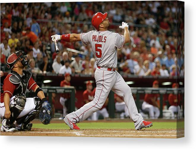 People Canvas Print featuring the photograph Albert Pujols by Christian Petersen