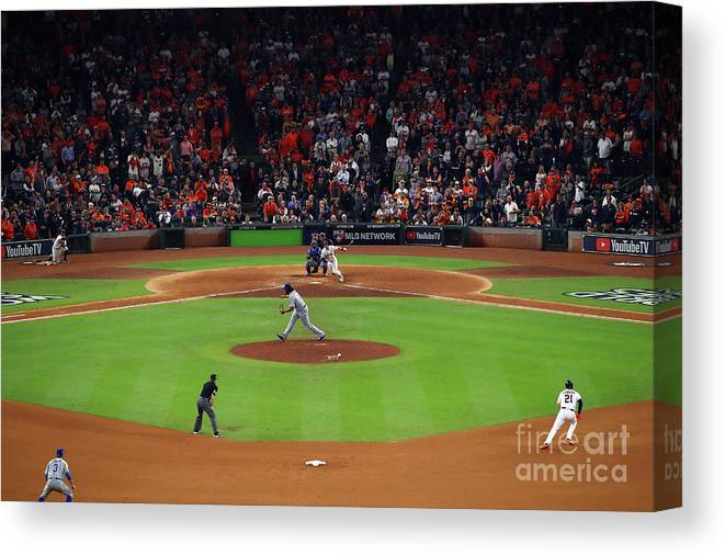 Alex Bregman Canvas Print featuring the photograph Alex Bregman and Kenley Jansen by Ezra Shaw