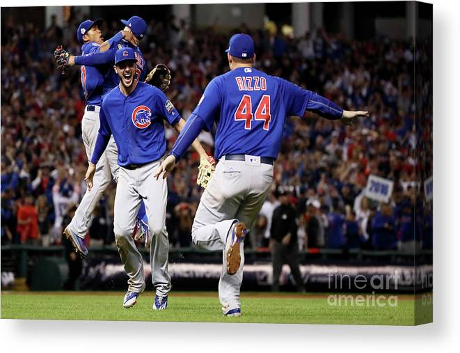 People Canvas Print featuring the photograph Anthony Rizzo and Kris Bryant by Ezra Shaw