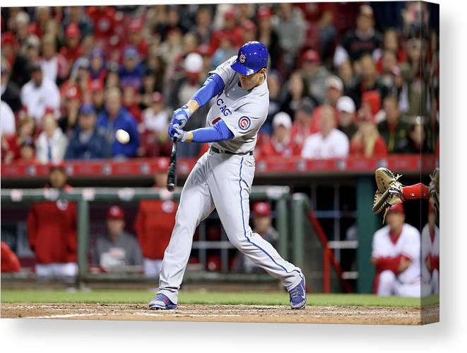 Great American Ball Park Canvas Print featuring the photograph Anthony Rizzo by Andy Lyons