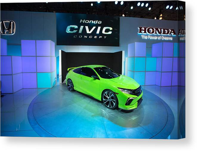 Concepts & Topics Canvas Print featuring the photograph Automakers Showcase New Models At New York International Auto Show by Kevin Hagen