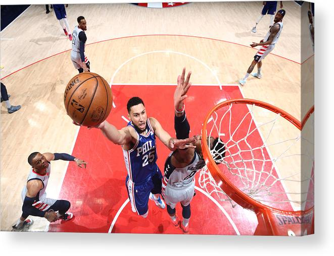 Playoffs Canvas Print featuring the photograph Ben Simmons by Ned Dishman