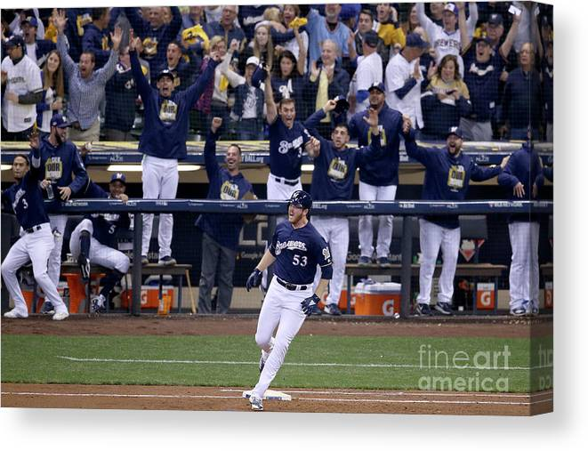 People Canvas Print featuring the photograph Brandon Woodruff and Clayton Kershaw by Dylan Buell