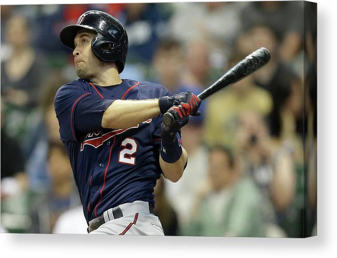 Three Quarter Length Canvas Print featuring the photograph Brian Dozier by Mike Mcginnis