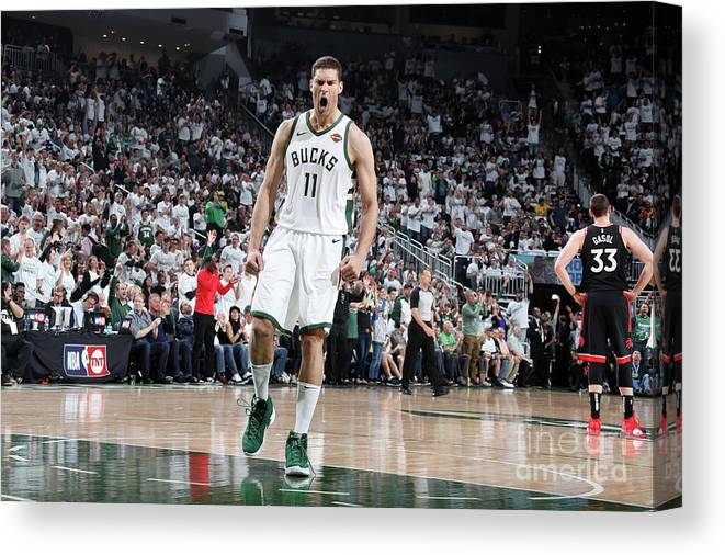 Playoffs Canvas Print featuring the photograph Brook Lopez by Nathaniel S. Butler