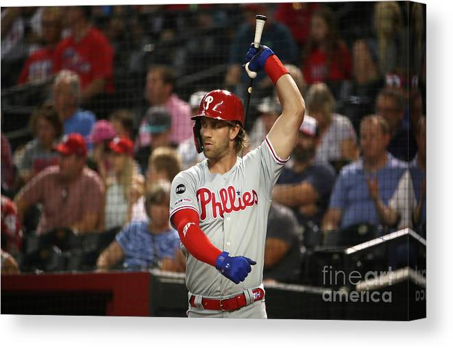 People Canvas Print featuring the photograph Bryce Harper by Christian Petersen