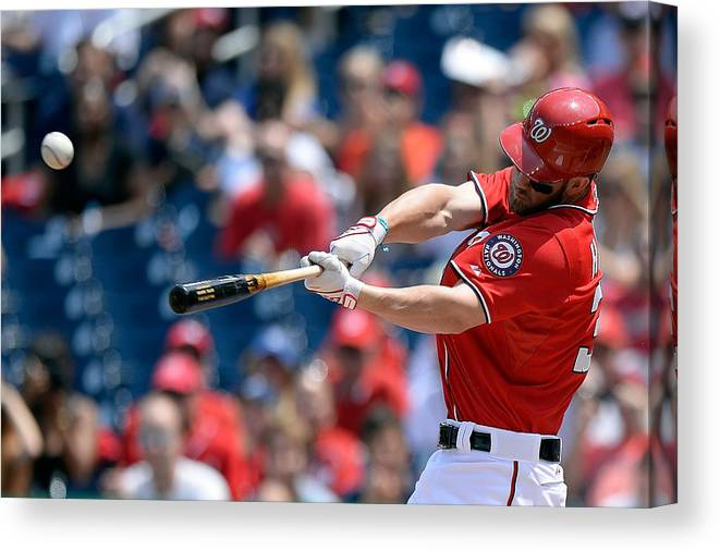 Second Inning Canvas Print featuring the photograph Bryce Harper by Patrick Mcdermott