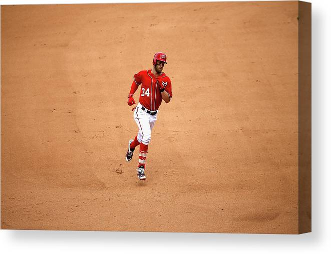 People Canvas Print featuring the photograph Bryce Harper by Rob Carr