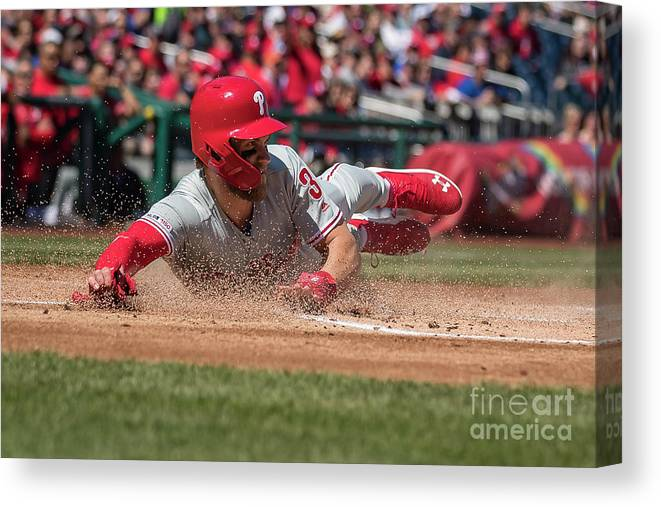 People Canvas Print featuring the photograph Bryce Harper by Scott Taetsch
