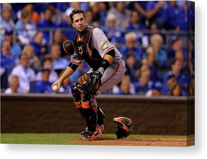 Game Two Canvas Print featuring the photograph Buster Posey by Elsa