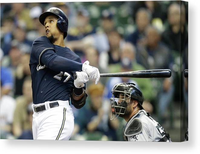 American League Baseball Canvas Print featuring the photograph Carlos Gomez by Mike Mcginnis