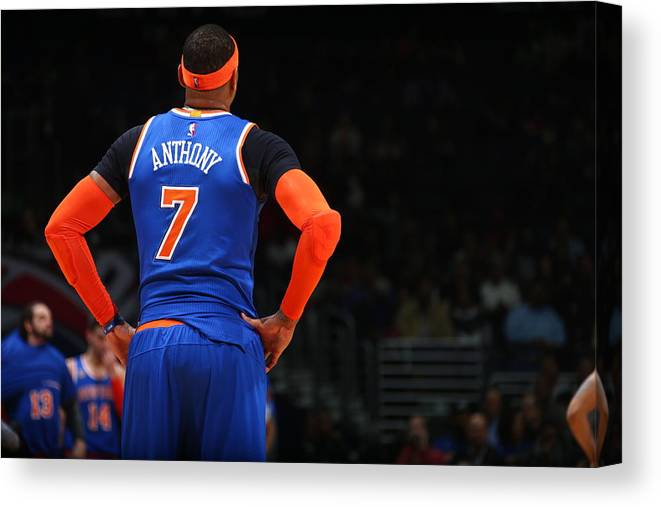Nba Pro Basketball Canvas Print featuring the photograph Carmelo Anthony by Ned Dishman