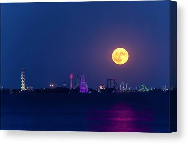Moon Canvas Print featuring the photograph Cedar Point Moon Rising 2 by James McClintock