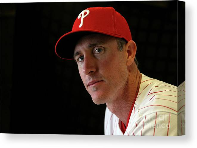 Media Day Canvas Print featuring the photograph Chase Utley by Mike Ehrmann