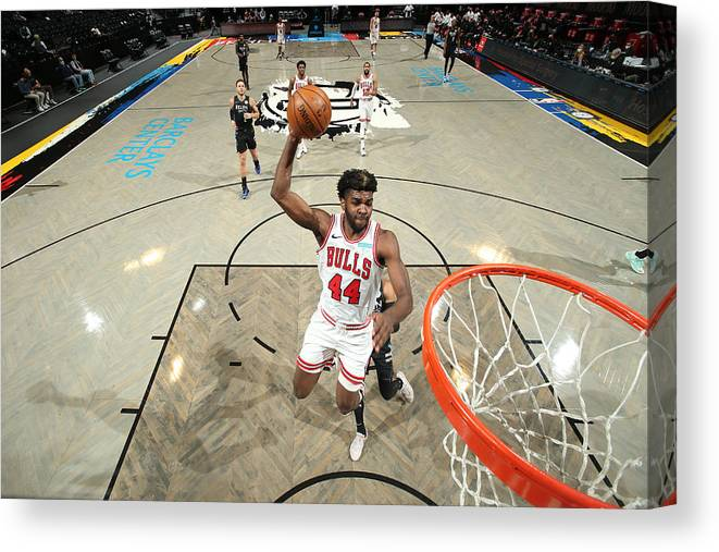 Nba Pro Basketball Canvas Print featuring the photograph Chicago Bulls v Brooklyn Nets by Nathaniel S. Butler