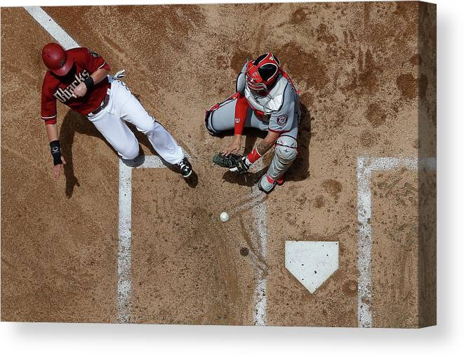 Second Inning Canvas Print featuring the photograph Chris Owings by Christian Petersen