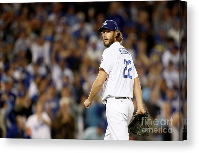 Three Quarter Length Canvas Print featuring the photograph Clayton Kershaw by Ezra Shaw
