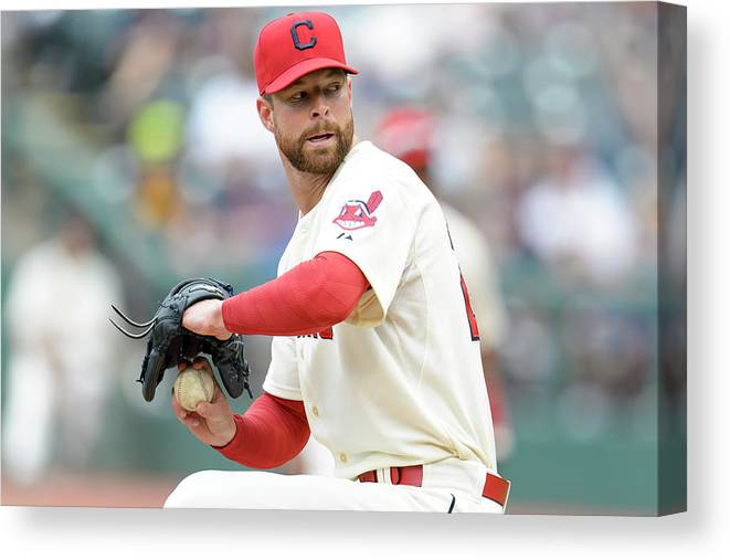 American League Baseball Canvas Print featuring the photograph Corey Kluber by Jason Miller