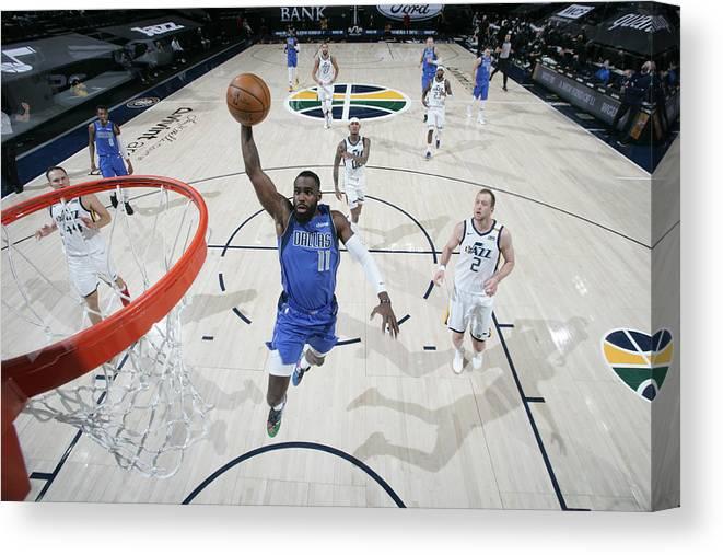 Tim Hardaway Jr. Canvas Print featuring the photograph Dallas Mavericks v Utah Jazz by Melissa Majchrzak