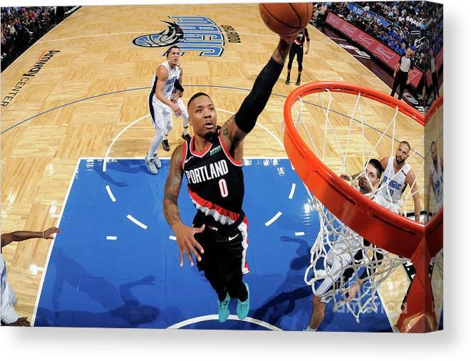 Nba Pro Basketball Canvas Print featuring the photograph Damian Lillard by Fernando Medina