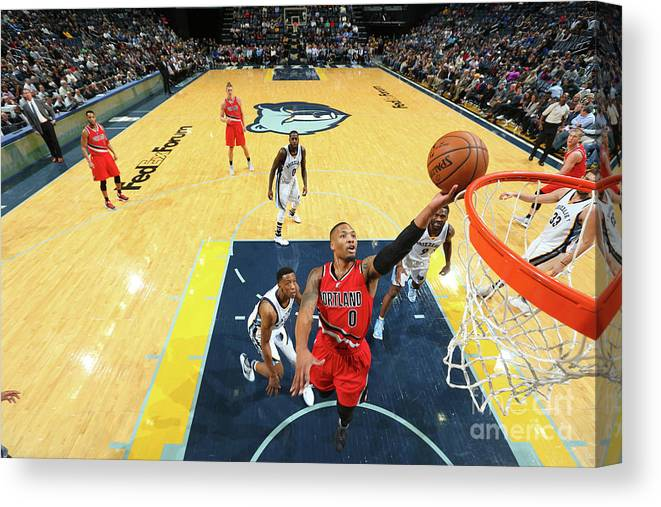 Nba Pro Basketball Canvas Print featuring the photograph Damian Lillard by Joe Murphy