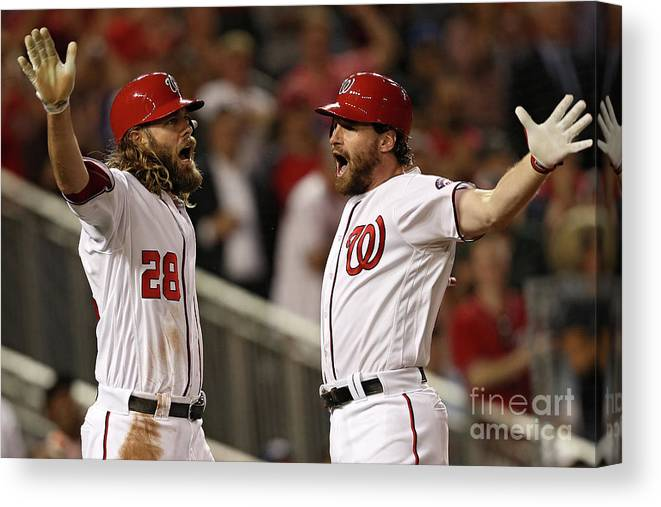 Three Quarter Length Canvas Print featuring the photograph Daniel Murphy and Jayson Werth by Patrick Smith