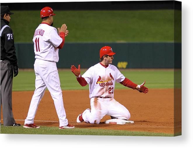 St. Louis Cardinals Canvas Print featuring the photograph David Freese by Ezra Shaw