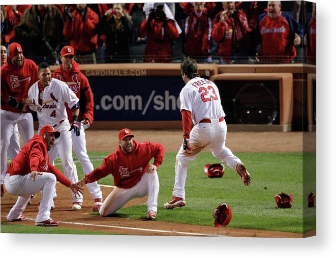 St. Louis Cardinals Canvas Print featuring the photograph David Freese by Rob Carr