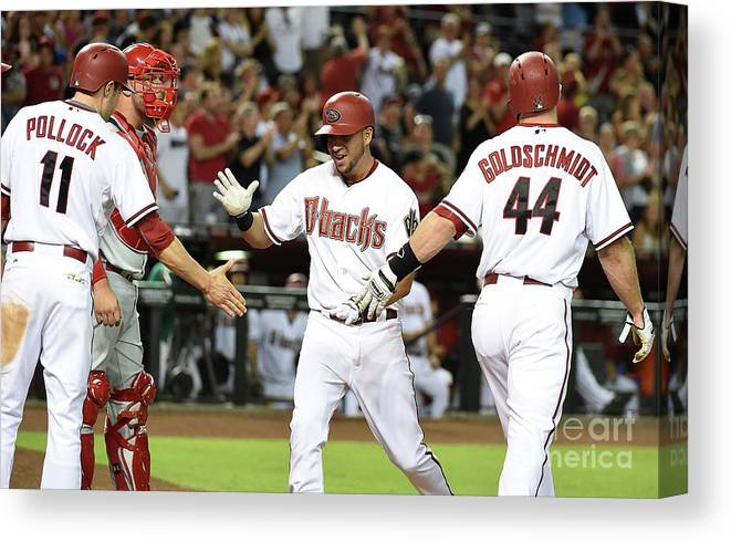 Second Inning Canvas Print featuring the photograph David Peralta and Paul Goldschmidt by Norm Hall