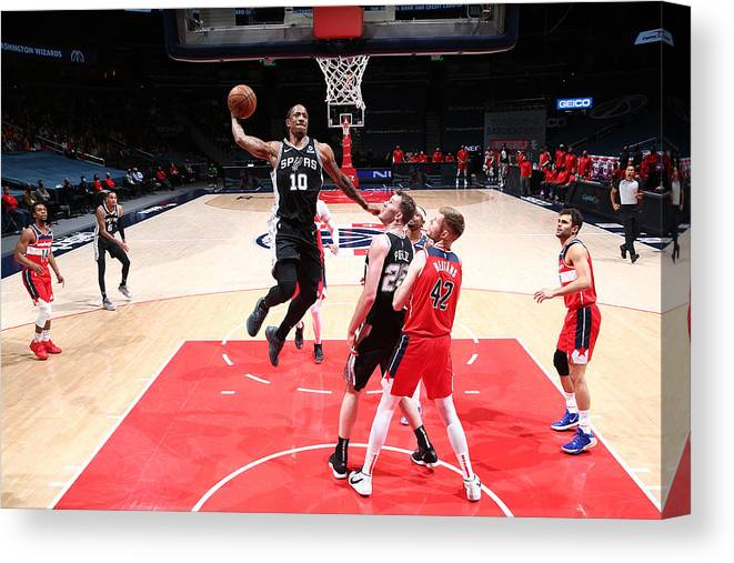 Nba Pro Basketball Canvas Print featuring the photograph Demar Derozan by Ned Dishman
