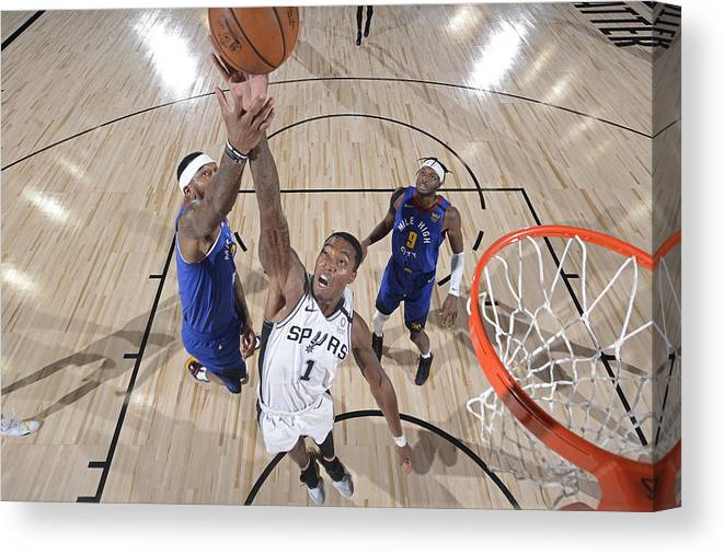 Nba Pro Basketball Canvas Print featuring the photograph Denver Nuggets v San Antonio Spurs by David Dow