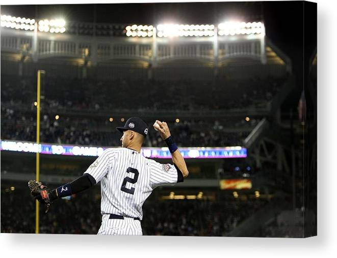 Game Two Canvas Print featuring the photograph Derek Jeter by Jed Jacobsohn